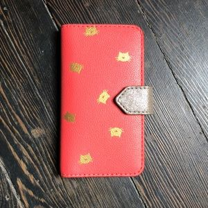 Fossil iPhone 7 Coral & Gold Cat Phone/Wallet Case